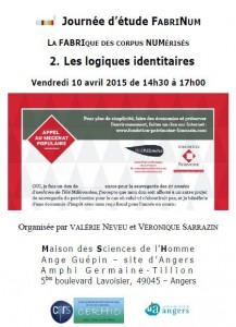 Affiche de la journée d'étude FabriNum : logiques identitaires