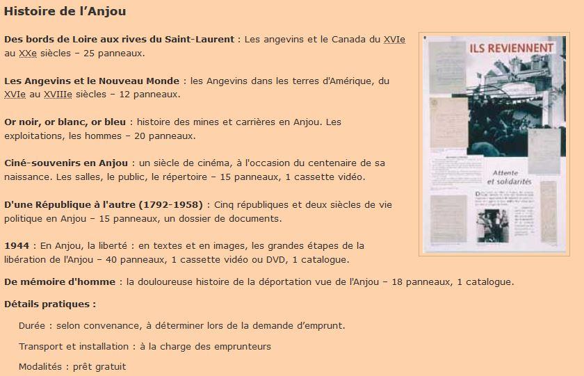 Extrait de la liste des expositions itinérantes (source : site internet archives départementales de Maine-et-Loire, version du 15 août 2010)